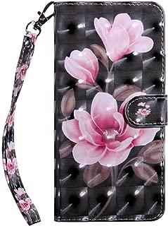 LG Q6 手帳型 ケース, Zeebox® 高級PUレザー 薄型 簡約風 人気 財布型 ケース, カード収納 スタンド 機能 マグネット開閉式, 黒花