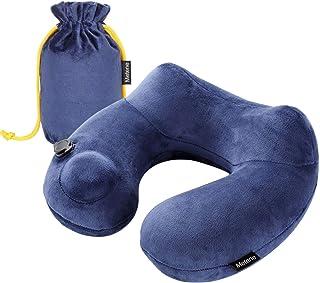 Metene ネックピロー U型まくら 携帯枕 洗えるカバー 旅行用品 飛行機 トラベル 収納ポーチ付き(ブルー)