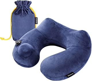 Metene ネックピロー U型まくら 携帯枕 洗えるカバー 旅行用品 飛行機 トラベル 収納ポーチ付 (ブルー)