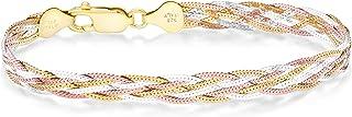 دستبند زنجیره ای استخوان شاه ماهی اره ای 6 رشته ای الماس برش 6 رشته ای طلای 18K طلای 18K طلای Miabella برای بانوان دختر نوجوان 6.5 ، 7.25 ، 8 اینچ 925 ایتالیا