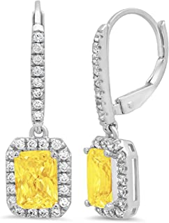 3.57 CT Emerald Brilliant Round Cut Halo Solitaire Canary Yellow Simulated Diamond CZ VVS1 Ideal Anniversary gift Leverback Drop Dangle Earrings Solid 14k White Gold, Clara Pucci