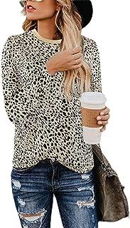 neveraway Women Fashion Crew Neck Blouse Long Sleeve Leopard Print Tees Top