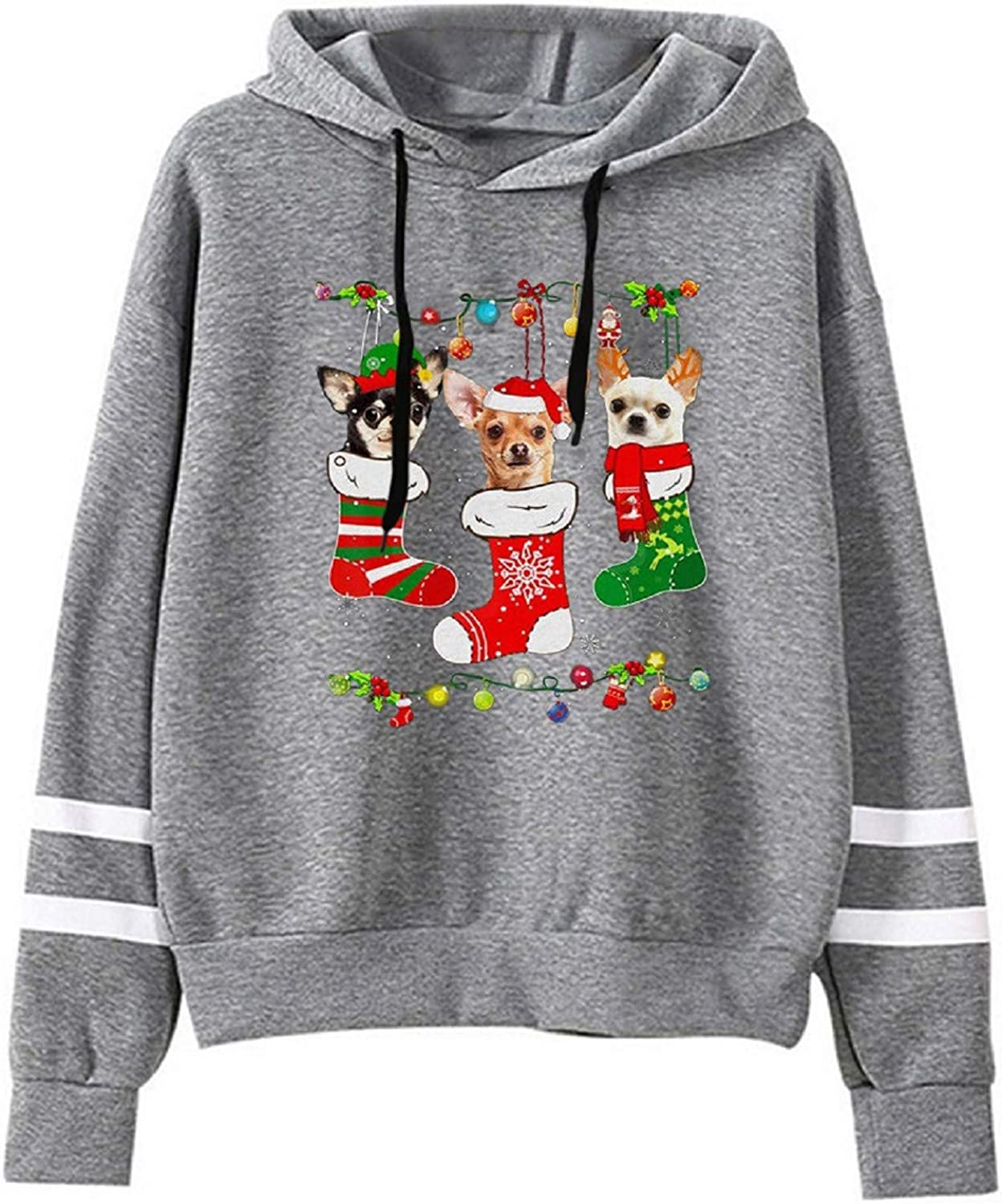 Women's Sweatshirts Casual Christmas Lovely Dog Print Crewneck Hooded Long Sleeves Loose Pullover Hoodies Tops Blouse