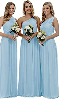 Future Girl Women's Long One Shoulder Bridesmaid Dress Asymmetric Prom Evening Gown