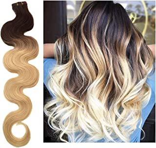 24 Inch Skin Weft Hair Extensions Tape in Hair Extensions Human Hair Body Wave #2T613 Dark Brown Fading to Bleach Blonde Remy Hair Extensions Wavy Glue in 20PCS 70G