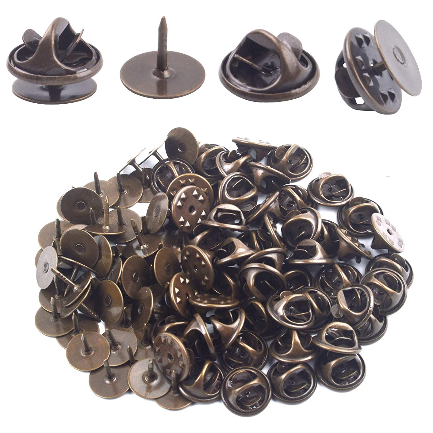 Tie Tacks and Clutch Backs Set, 50 Pieces Bronze Tie Tacks Blank Pins with 50 Pieces Butterfly Clutch Pin Backs Locking Clasps