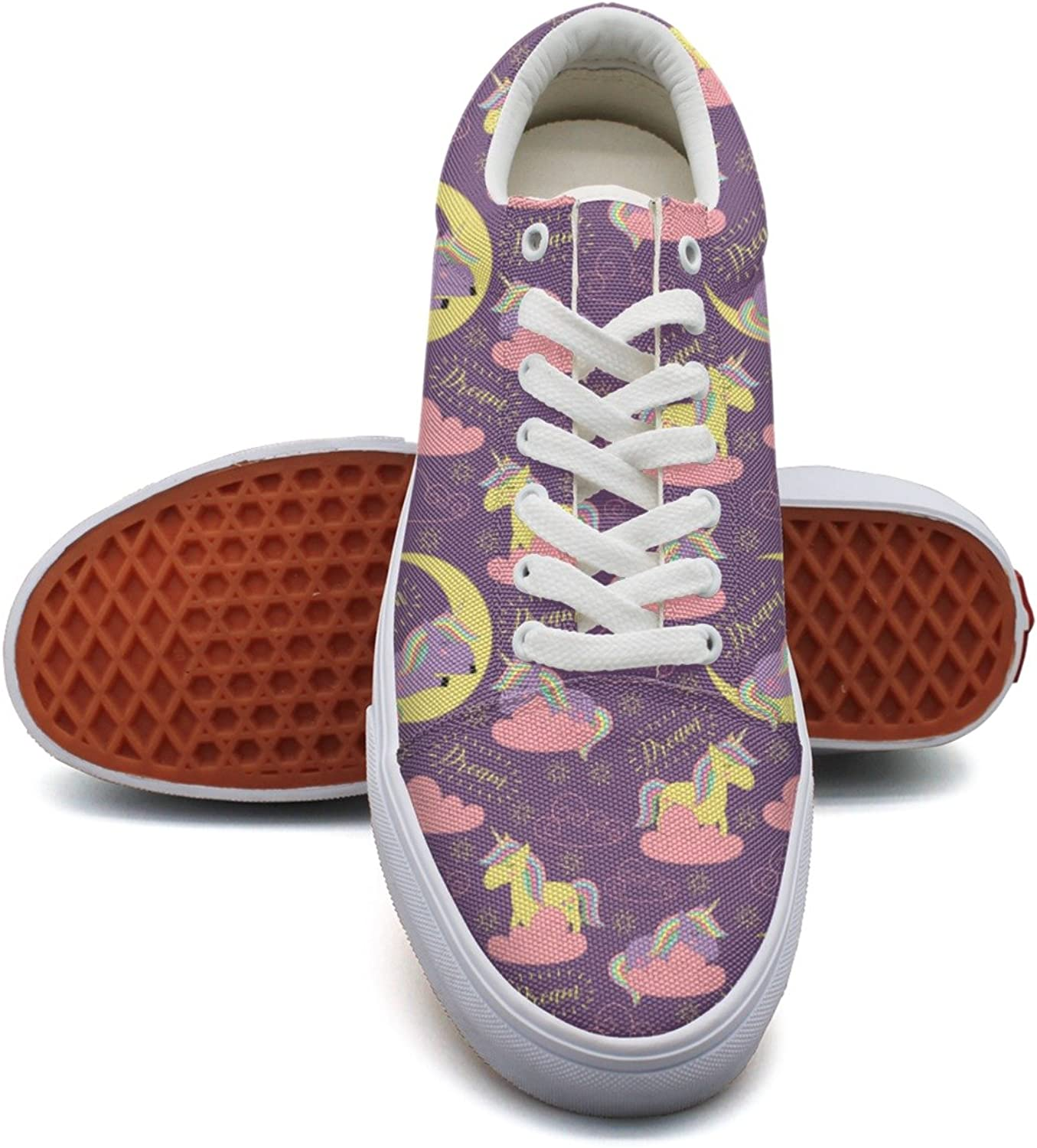 Feenfling Sleeping Unicorn with Dream Womens Casual Canvas shoes Low Top Cool Tennis shoes for Woman