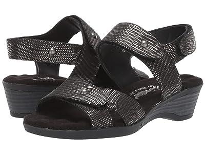 Walking Cradles Karen (Black/Silver Metallic Lizard Print Leather) Women