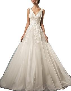 982642ffc37 Gotidy Sexy V-Neck Sheer Lace Vestido De Novia Backless Bridal Wedding  Dresses Women G19
