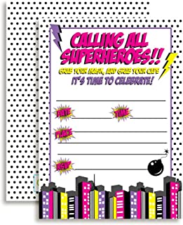 Super Hero Girl Birthday Party Invitations, 20 5