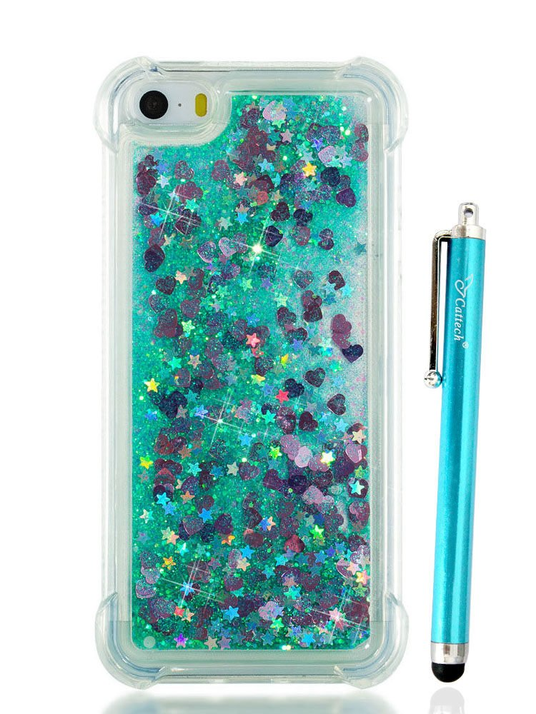 liquid glitter iphone 5 case with bumper amazon comiphone se liquid case, iphone 5 5s case, cattech liquid bling sparkle shiny moving