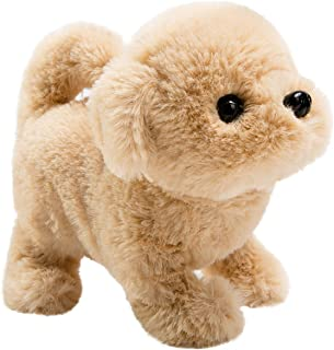 HollyHOME Plush Golden Retriever Electronic Interactive Toy Walking,Barking,Wagging Tail,Stretching Puppy Dog 7 Inches Gifts for Kids & Pets