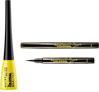 Maybelline New York Colossal Bold Eyeliner, Black, 3g & Maybelline New York The Colossal Liner, 1.2ml (Black)
