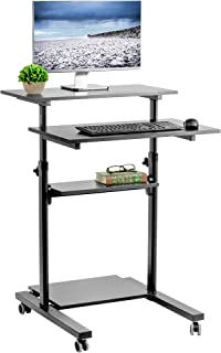 VIVO Black Mobile Height Adjustable Table Stand Up Desk with Storage, Computer Workstation Rolling Presentation Cart (CART-V02DB)