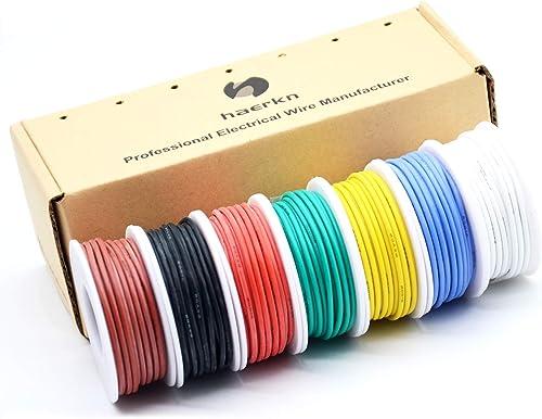 0.82mm² Fil électrique en Silicone 18awg 7 coloris(chaque couleur 4 mètres) Cable de Connexion Sans Oxygène Fil Toron...
