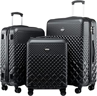 Seanshow Hardside Luggage with Spinner Wheels 3PCS Lightweight Luggage Set with TSA Lock 20-24-28in