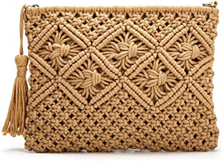 Clutch Purses for Women, Tassel Straw Handbag Vintage Handwoven Bag Summer Beach Bag