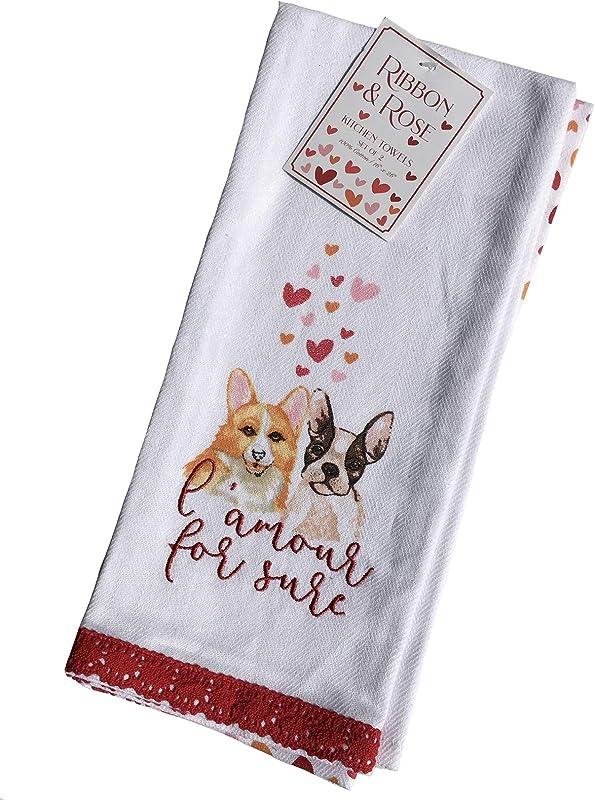 Ribbon Roses L Amour Corgi Boston Terrier Kitchen Tea Towels 100 Cotton Set Of 2
