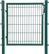 SONGMICS tuinpoort van gegalvaniseerd staal robuust en duurzaam met slot- en sleutelpoortafmetingen: 106 x 100 cm maaswijd...