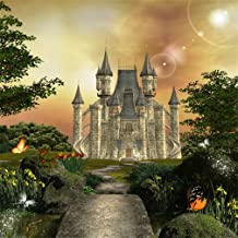 CSFOTO 8x8ft Background for Dreamy Castle Photography Backdrop Fantasy Fairy Tale Prince Princess Forest Landscape Butterfly Wonderful Photo Studio Props Children Kid Portrait Wallpaper