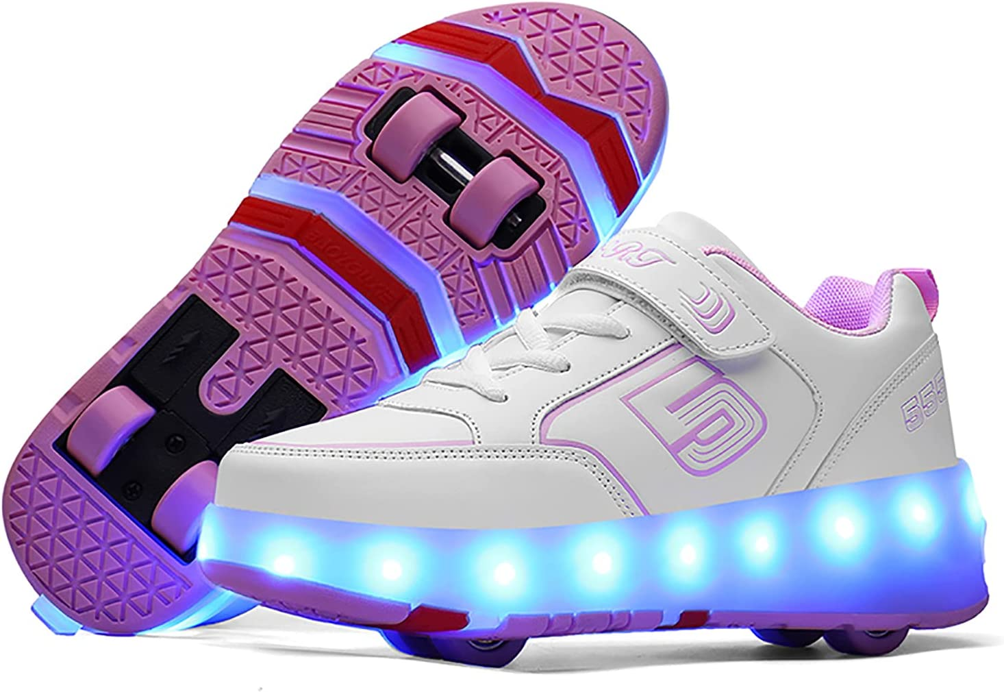 AMXSML Kids Roller Skate Shoes with Wheels USB Charging Girls Boys LED Light up Sneakers Technical Skateboarding Shoe Outdoor Cross Sport Trainers,White pink2,29EU