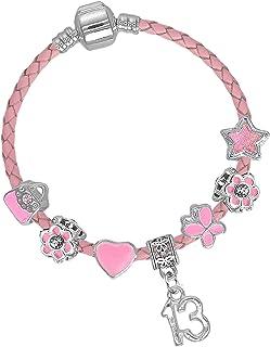 Pulsera para ni/ña con grabado personalizable para primera comuni/ón SanaBelle color rosa y lila