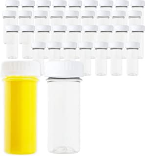 2 oz Small Plastic Juice Bottles, 35 Mini Clear Bottles and White Lids Caps for Liquids Smoothies