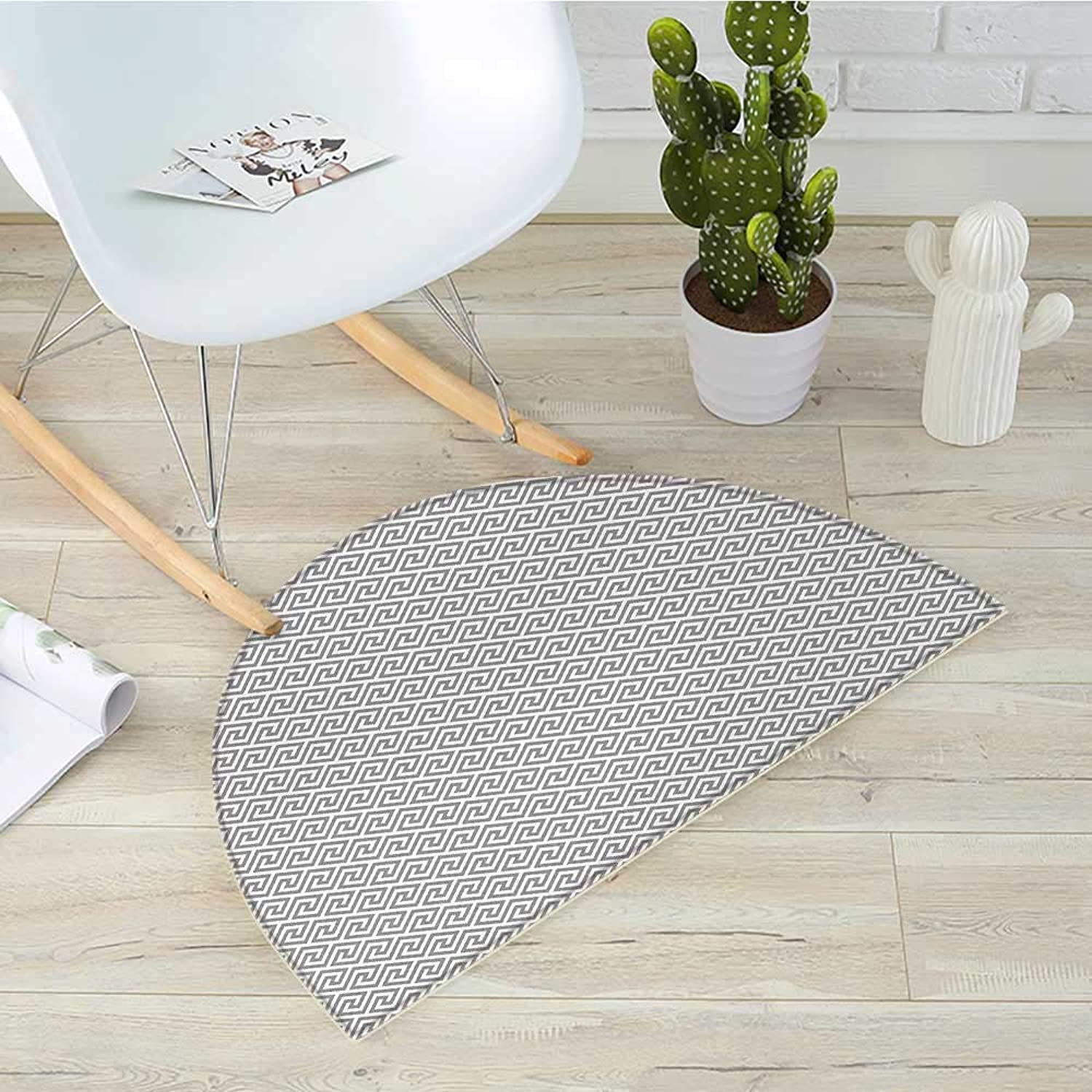 Greek Key Semicircle Doormat Geometric Lines Abstract Pattern with Antique Motif in Grey Labyrinth Maze Halfmoon doormats H 31.5  xD 47.2  Pale Grey White