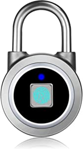 Safedome Smart Fingerprint Padlock - Biometric Technology - USB Rechargeable Lock with Bluetooth Connection, Waterproof and Suitable for Indoors and Outdoors (Grey)