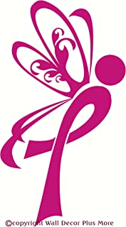 Wall Décor Plus More WDPM2131 Breast Cancer Ribbon with Wings Wall Art Decal Sticker, 12.5 W x 23 H, Hot Pink, 1-Pack