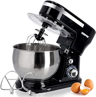 Geepas 5L Food Stand Mixer | 1000W Stainless Steel Mixing Bowl & Splash Guard | 6 Speed with Pulse & Balloon Whisk Flat Be...