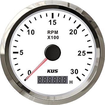 Kus Wasserdichte Drehzahlmesser Drehzahlmesser Mit Betriebsstundenzähler 3000 Rpm 85mm 12 V 24 V Mit Hintergrundbeleuchtung Weiß Auto