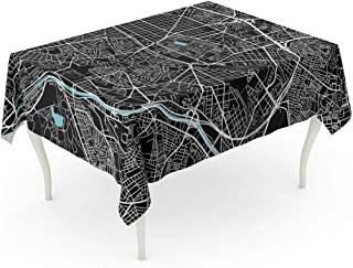 Semtomn 60 x 102 Inch Decorative Rectangle Tablecloth Black and White City Map of Madrid Well Organized Waterproof Oil-Proof Printed Table Cloth