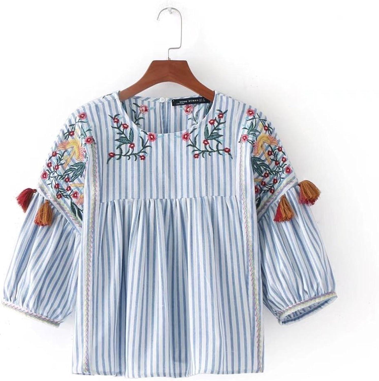 PiterNace New Women Vintage Embroidery Loose Slim Kimono Blouse Shirts Tassel Two colors Casual bluesas Femininas Tops LS1372