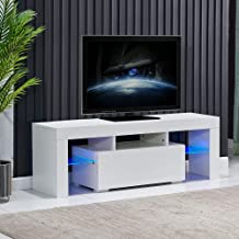 4HOMART TV Stand with Lights,High Gloss LED TV Stand with Storage & Drawer Minimalist TV Console with Cabinet, Entertainme...