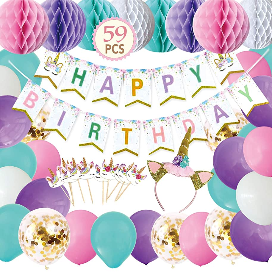 Unicorn Birthday Party Supplies - Unicorn Happy Birthday Banner, Honeycomb Balls, Unicorn Headband, Balloons, Cupcake Topper - Unicorn Birthday Party Decorations (Type 2, 59PCS)