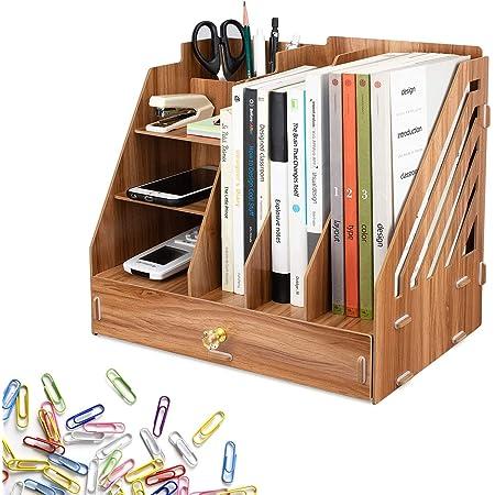 JOLIGAEA Organiseur Bureau, Organiseur Bureau Bois, avec 3 Sections de Porte-classeurs A4, 3 Compartiments 1 Tiroir en 1 Porte-crayon, pour Rangement pour Bureau, Maison et École