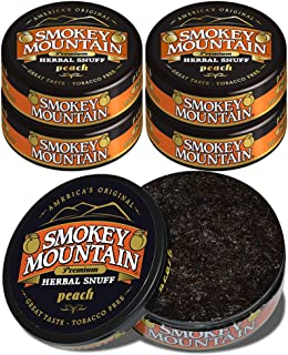 Smokey Mountain Herbal Snuff - Peach - 5 Cans - Nicotine-Free and Tobacco-Free - Herbal Snuff - Great Tasting & Refreshing Chewing Tobacco Alternative