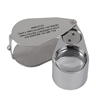 40X Full Metal Illuminated Jewelry Loop Magnifier, XYK Pocket Folding Magnifying Glass Jewelers Eye Loupe with LED(LED Currency Detecting/Jewelry Identifying)