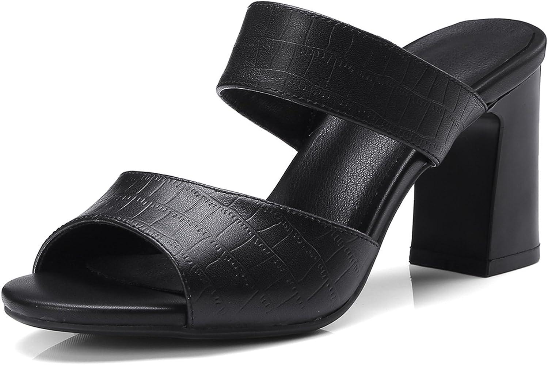 DoraTasia Women's Summer Peep Toe Slipper Flip Flops shoes Block Heel High Heel Sandals