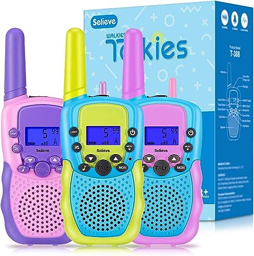Talky Walky 3 Pieces Selieve Jouets Filles Garcons 3-8 Ans, 3 KM Longue Distance 8 Canaux Jeux Extérieurs Enfants ave...