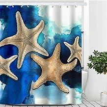 "Blue Ocean Shower Curtain, Starfish Beach Theme Shower Curtain Waterproof Polyester Fabric Purple Ocean Animal Shower Curtain Set with Hooks Bathroom Decor 72"" x 72"" (72 x 72 inches, Starfish)"