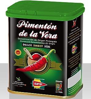 Pimentón de la Vera Ahumado, Dulce en Lata de 75 g, Producto con la Denominación de Origen Protegida D.O.P. Condimento Apto para Celíacos.
