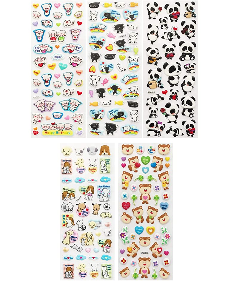 Allydrew A71585c 3D Puffy Bubble Stickers for Crafts & Scrapbooking, ((5 Sheets), Piggies, Kitties & Pandas