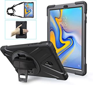 Galaxy Tab A 10.5 Case 2018 with Strap, Samsung T590 Case TSQ 3 Layers Shockproof Hard Heavy Duty Rugged Protective Case with Stand/Shoulder Strap for Samsung Galaxy Tab A 10.5 SM-T590/T595/T597,Black