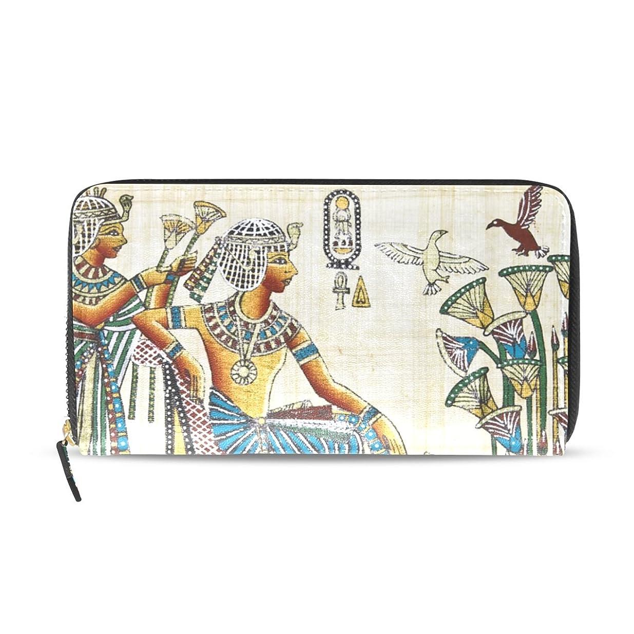 変換教え家具レディースビンテージエジプトアートパターン長財布&財布ケースカードホルダー