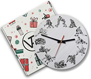 VTH Global 12 Inch Silent Battery Operated Wrestling Wood Wall Clocks Gifts for Wrestlers Men Boys