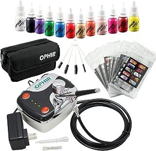 OPHIR 12x Nail Ink Airbrushing 0.3mm Airbrush Kit with Airbrush Nail Stencil & Bag & Cleaning Brush Set_OP-NA001 (Black)