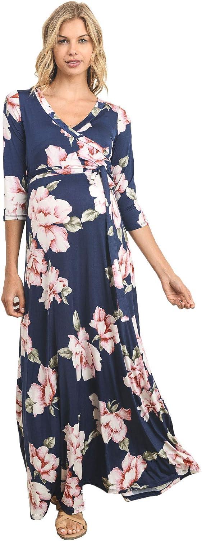 HELLO MIZ Women's Faux Wrap Maxi Belt Dress Max 64% OFF Maternity - Mad with Sale