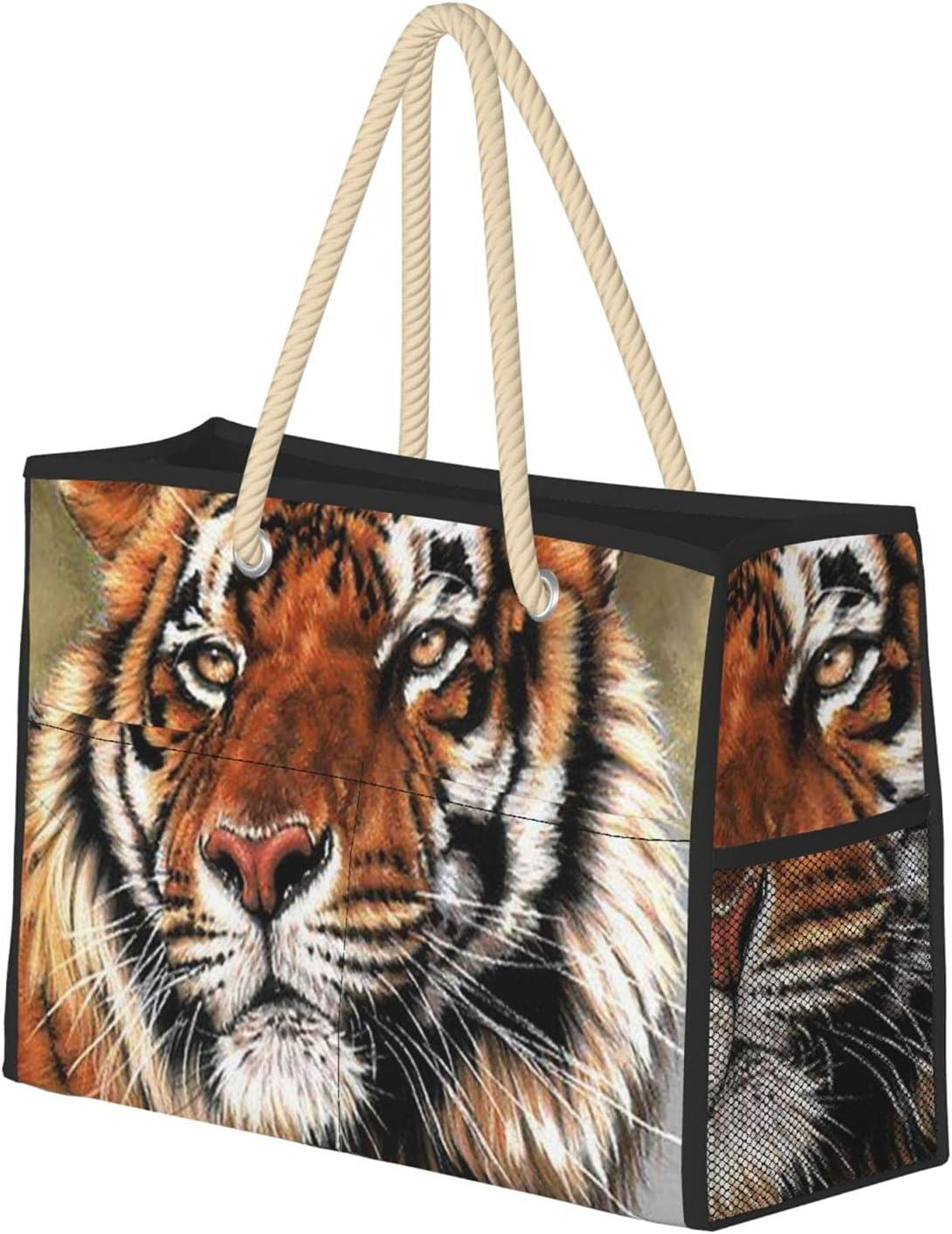 Cute Tiger Beach Bag - Zipper Max 50% OFF Lightweight 67% OFF of fixed price Top Closure Tote